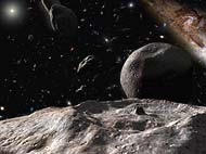 An artist's impression of the Kuiper Belt.